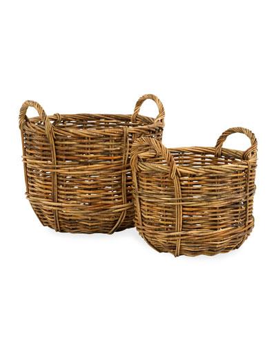 Cottage Bushel Baskets  Set of 2