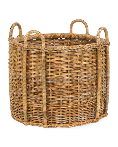 French Country Fireplace Rattan Log Carrier