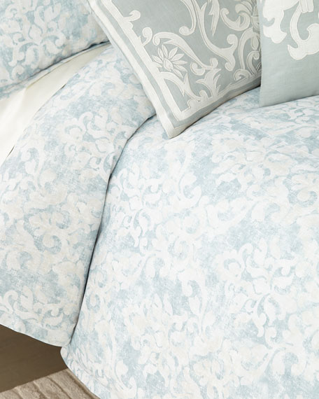 Florencia Faded Damask Queen Duvet Cover