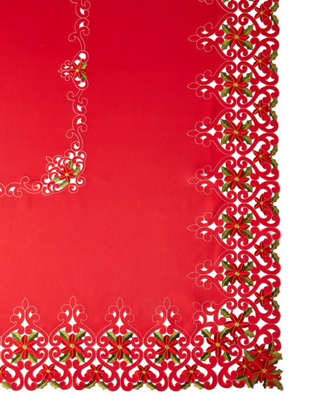 "Poinsettia 72"" x 126"" Tablecloth with 12 Napkins"
