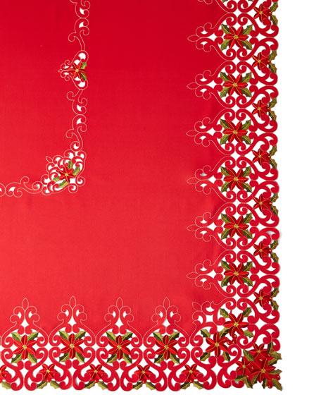 "Poinsettia 72"" x 144"" Tablecloth with 12 Napkins"