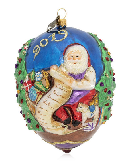 Jay Strongwater 2019 Santa Glass Ornament