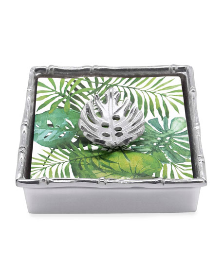 Mariposa Tropical Leaf Bamboo Napkin Box