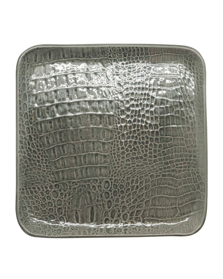 Crocodile Ceramic Large Square Plate