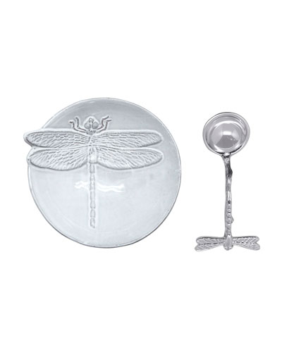 Dragonfly Ceramic Canape Plate and Spoon