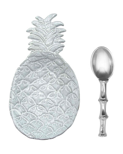 Pineapple Ceramic Canape Plate and Spoon