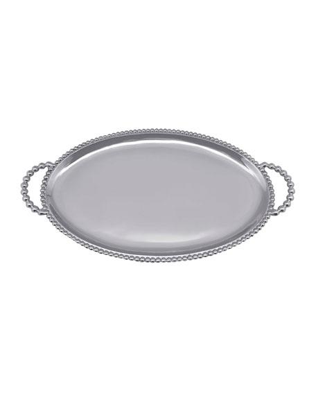 Beaded Oval Handled Tray