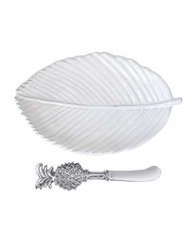 Leaf Ceramic Plate and Pineapple Spreader