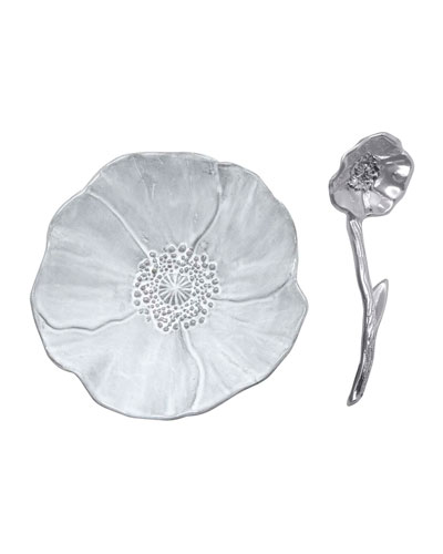 Poppy Ceramic Canape Plate and Spoon