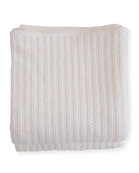 Cable Knit Herringbone Cotton Twin Blanket, Bright White