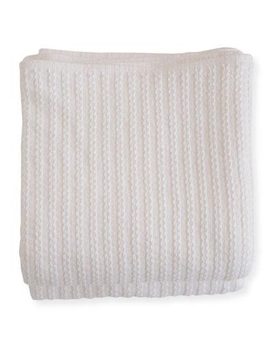 Cable Knit Herringbone Cotton Blanket  Bright White