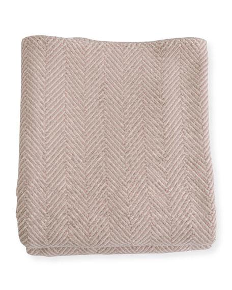 Evangeline Linens Herringbone Cotton Twin Blanket, Blush/Natural