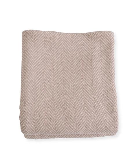 Evangeline Linens Herringbone Cotton Blanket, Blush Natural