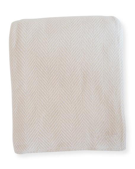 Evangeline Linens Herringbone Cotton Blanket, White/Natural