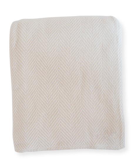 Herringbone Cotton Blanket, White/Natural