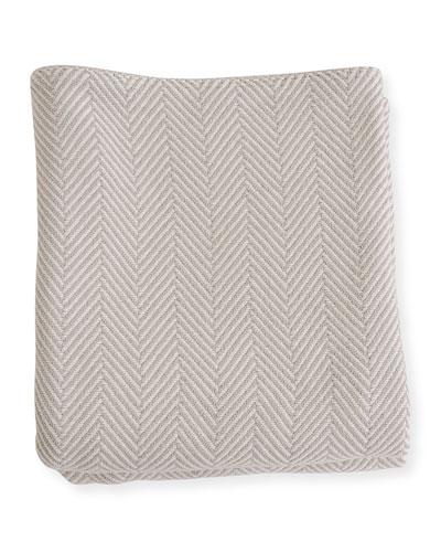 Herringbone Cotton King Blanket  Gray/Natural