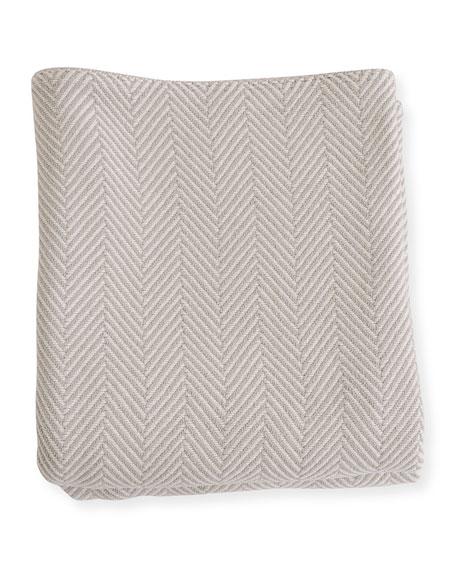 Herringbone Cotton King Blanket, Gray/Natural