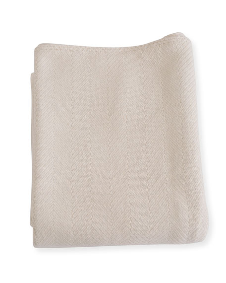 Herringbone Cotton Blanket, Natural