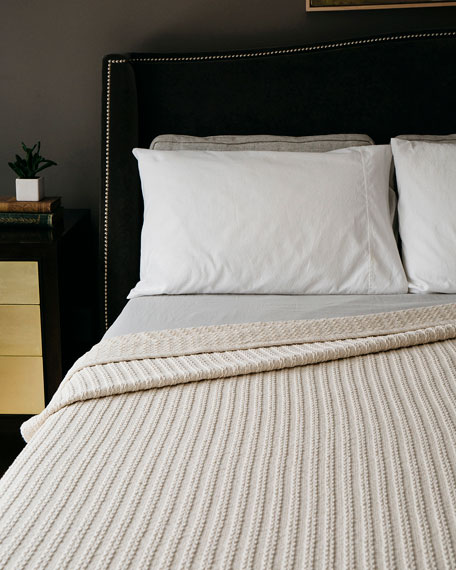 Cable Knit Herringbone Cotton Twin Blanket, Natural