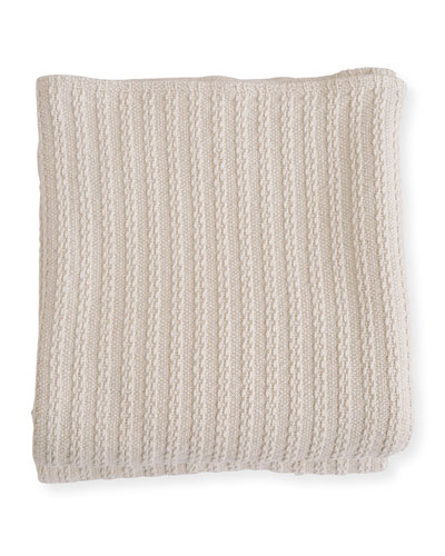 Cable Knit Herringbone Cotton Twin Blanket  Natural