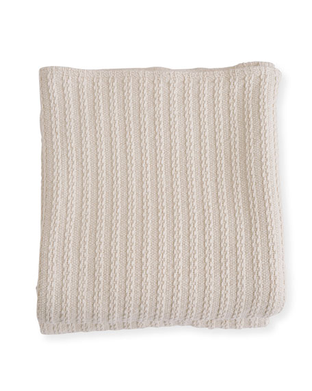 Cable Knit Herringbone Cotton Blanket, Natural