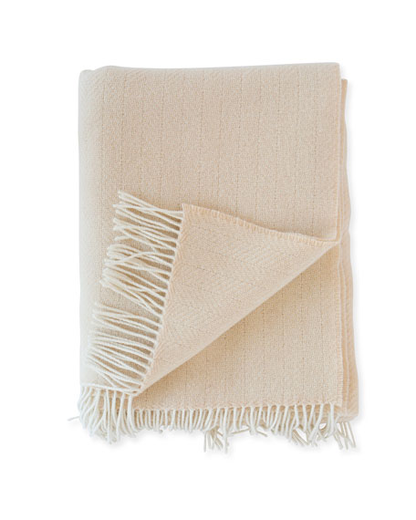 Evangeline Linens Herringbone Throw, Rose