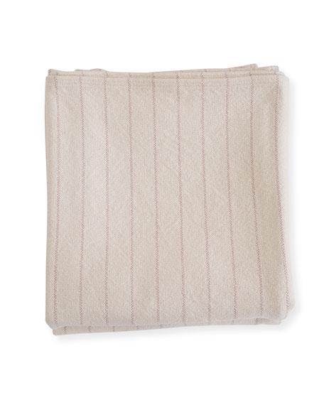 Pinstripe Herringbone Cotton Blanket, Blush