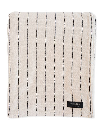 Pinstripe Herringbone Cotton Blanket