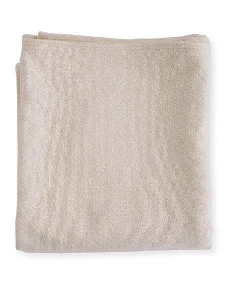 Simple Herringbone Cotton Blanket, Natural