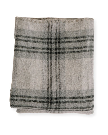Evangeline Linens Plaid Merino Wool Blanket, Fog Ledge
