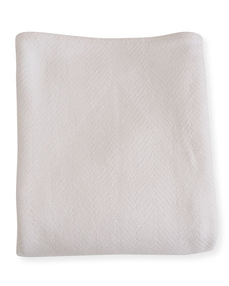 Herringbone Cotton King Blanket, Bright White
