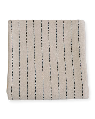 Pinstripe Herringbone Cotton Twin Blanket  Midnight Blue