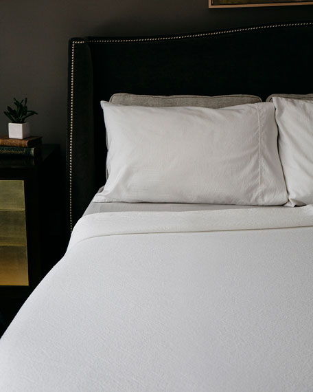 Simple Herringbone Cotton Twin Blanket, Bright White