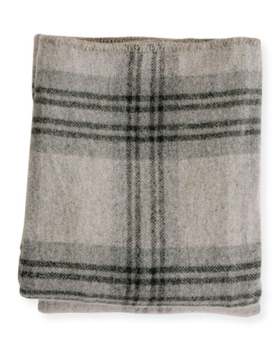 Plaid Merino Wool King Blanket  Fog/Ledge
