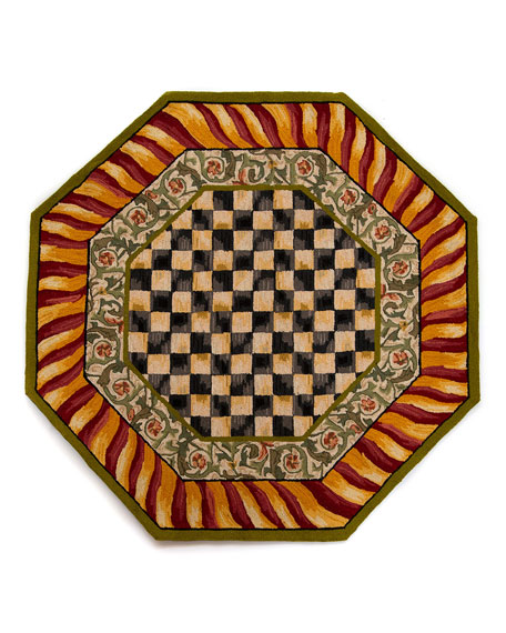 Courtly Check Octagonal Rug, 6'
