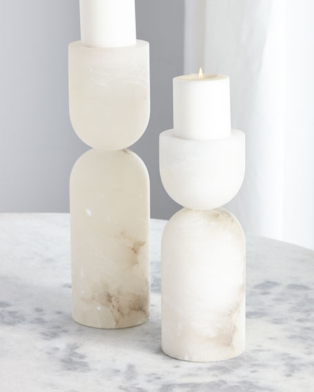 Alabaster Candle Holders, Set of 2