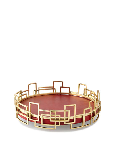 Red Shagreen Leather Tray