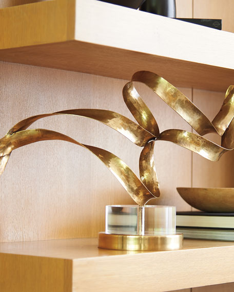 Antiqued Brass Sculptural Ribbons III