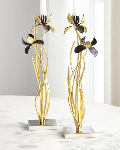 Black Iris Candleholders  Set of 2
