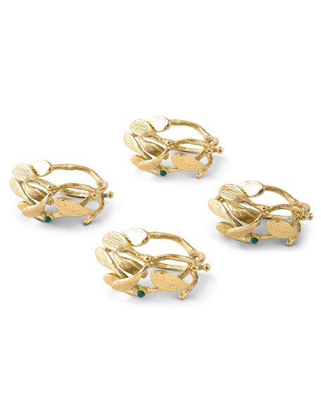 Mistletoe Napkin Rings, Set of 4
