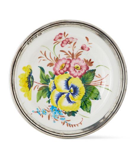 Neiman Marcus Floral Pewter & Ceramic Soup Bowl