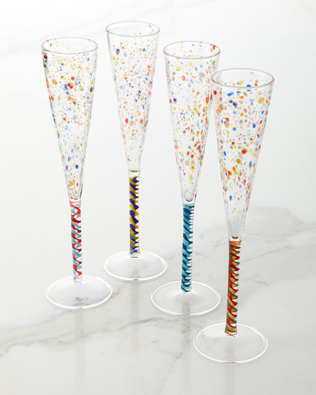 Multicolor Champagne Flutes, Set of 4