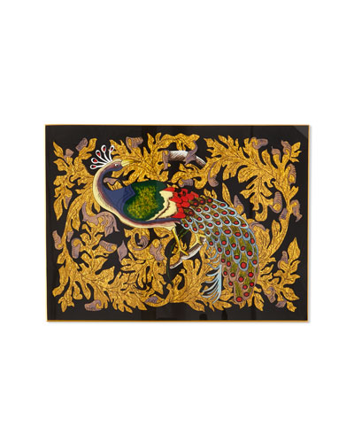 Golden Leaf Peacock Glass Placemat