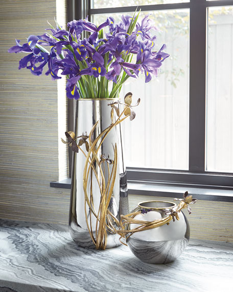 Black Iris Centerpiece Vase