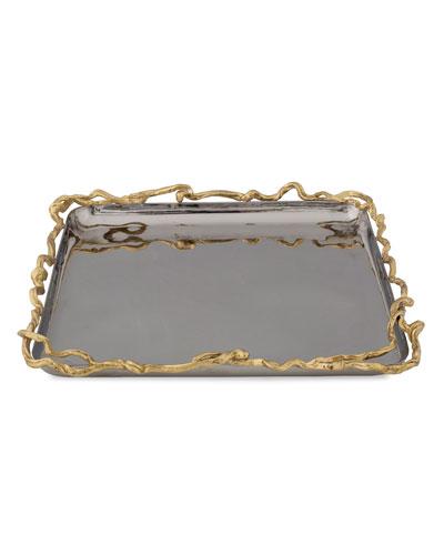Wisteria Gold Square Plate