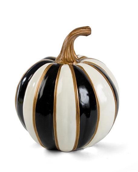 MacKenzie-Childs Black & White Stripe Pumpkin