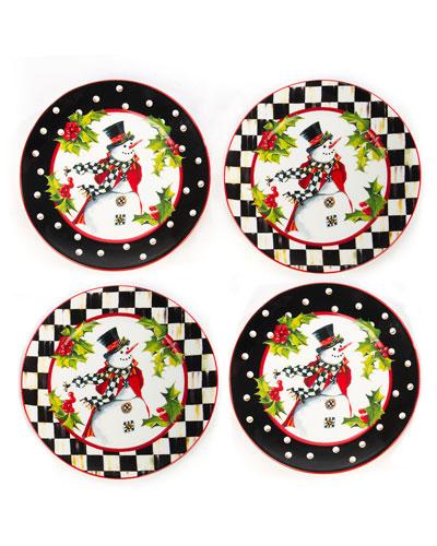 Top Hat Snowman Plates  Set of 4