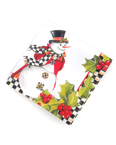 Top Hat Snowman Paper Cocktail Napkins  20 Pack