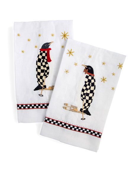 MacKenzie-Childs Penguin Guest Towels, Set of 2