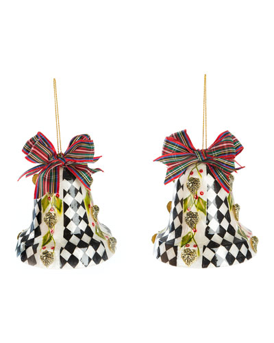 Poinsettia Bell Capiz Ornament  Set of 2